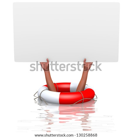 Blank card in drowning hands, concept of helping