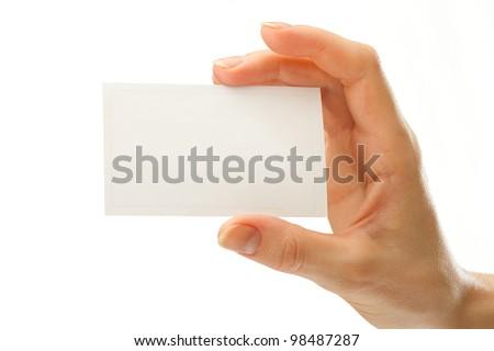 Blank card in female hand
