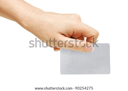 Blank card in hand, isolated on white background, with clipping path