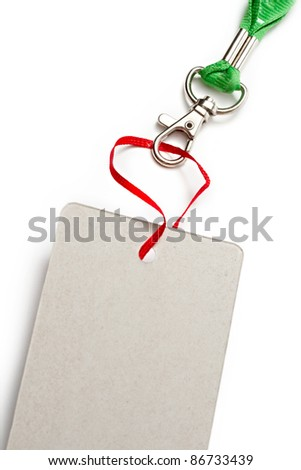 Blank card isolated on the white background