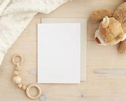 Blank card mockup and envelope for baby shower invitation, greeting card design, nursery art mock up.