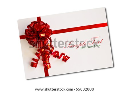 Blank card tied with a bow of red ribbon. Isolated on white, with soft shadow.