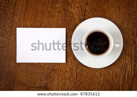 Blank card with coffee cup with space for your data