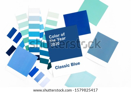Blank card with fashion colour swatches. Color trend palette.