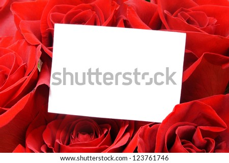 Blank card with room for text among beautiful red roses