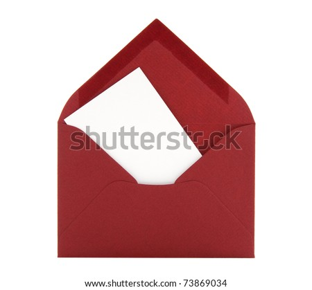 Blank card with space for text in a red envelope, isolated on white background.