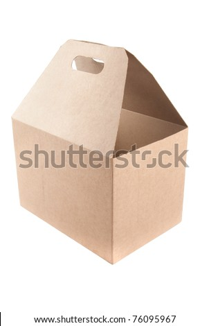 Blank cardboard shopping box with handles. Isolated on white.