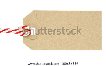 Blank Cardboard Tag Label with Red and White String Isolated on White Background