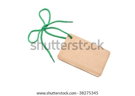 Blank cardboard tag with bow. Green shoelace