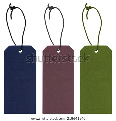 blank cardboard tags  of different colors  isolated on white background