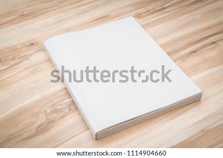 Blank catalog, magazines,book mock up on wood background. #1114904660