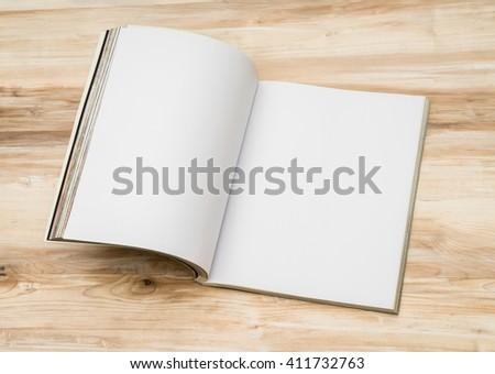 Blank catalog, magazines,book mock up on wood background #411732763