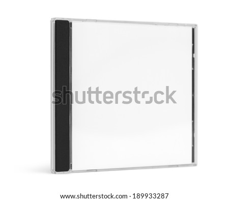 Blank CD Case Facing Forward Standing up Isolated on White Background.