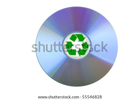 blank CD or DVD on white background with recycle sign