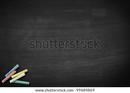 Blank chalkboard, chalkboard and chalk straight on blackboard texture with copy space