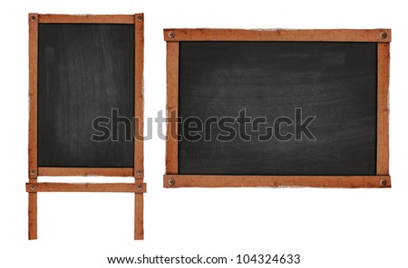 Blank chalkboard in wooden frame isolated on white background (Save Paths For design work)