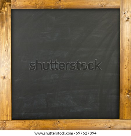 blank chalkboard with wood frame