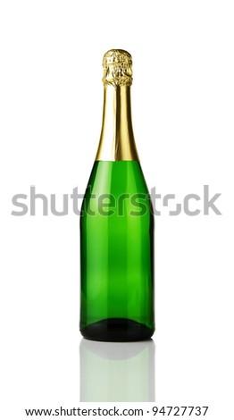 Blank champagne bottle isolated on white background