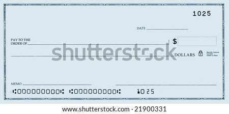 Blank check with false numbers in a blue tone.