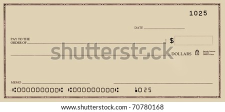 Blank check with false numbers in a gold tone.