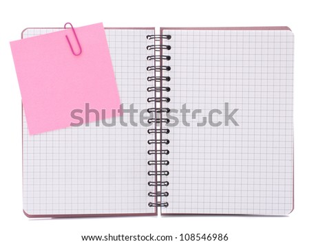 Blank checked notebook with notice paper isolated on white background cutout