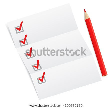 Blank checklist with a red pencil
