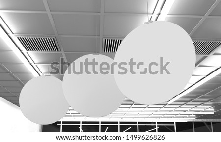 Blank Circle Banners Hanging In Supermarket. 3D render