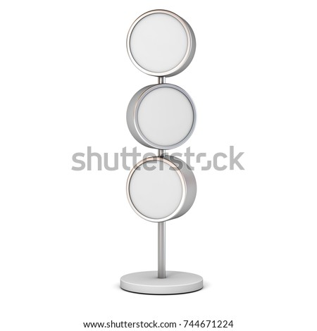 Blank circle signboards with pole stand , blank mock up , signage boards or advertising round billboard boxes isolated on white background . 3D rendering.