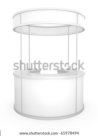 Blank circular trade stand. 3D rendered illustration. - stock photo