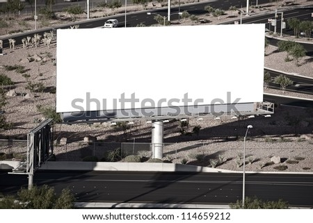 Blank City Billboard near Highway. Nevada, USA.