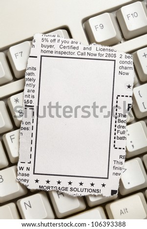 Blank Classified Ad, newspaper, business concept.