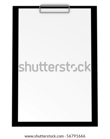 Blank clipboard isolated on white - 3d illustration