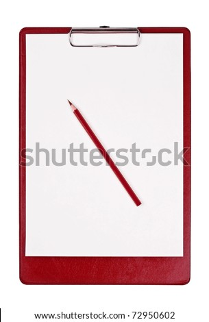 Blank clipboard isolated on white with red pencil - stock photo