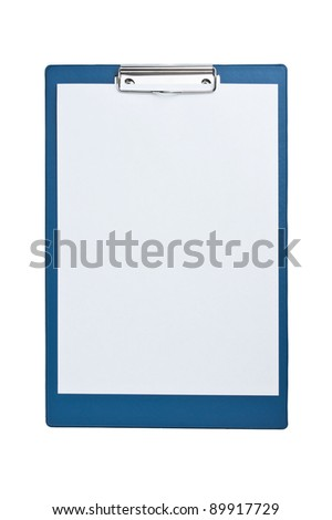 blank clipboard with paper isolated on white background