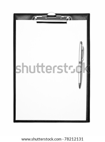 Blank clipboard with pen isolated on white