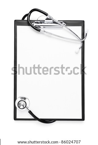 Blank clipboard with stethoscope isolated on white with clipping path