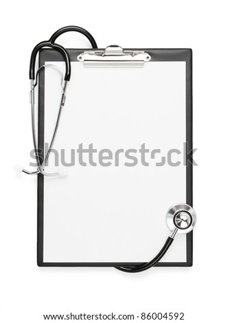 Blank clipboard with stethoscope isolated with clipping path