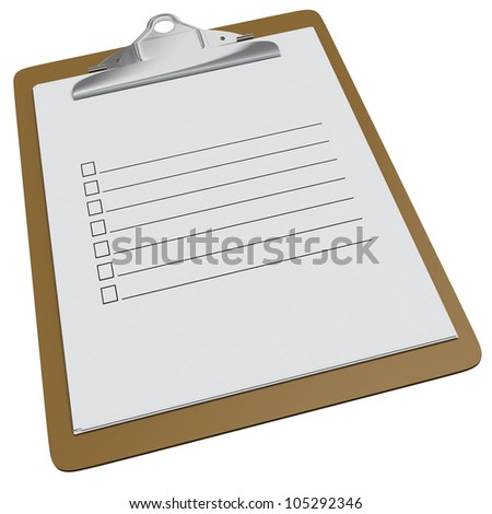 Blank clipboard with with check boxes and lines on white background