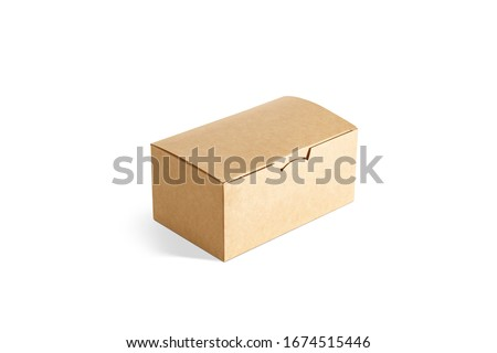 Blank closed craft box mockup, side view. Empty cardboard package for take away delivery with nuggets or fries mock up, isolated. Clear disposable carry pack with lunch or dessert mokcup template.