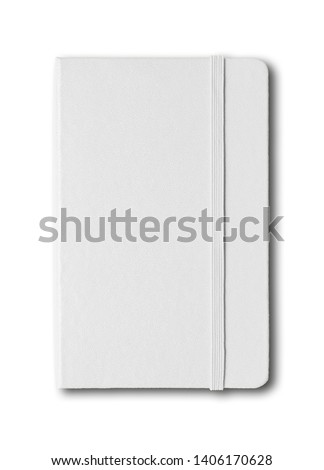 Blank closed notebook mockup isolated on white