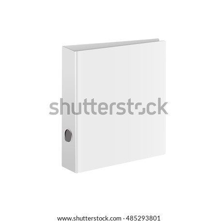 Blank closed office binder. Isometric view, on white background. illustration