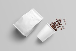 Blank coffee packaging, coffe cup with seeds, packaging mockup with empty space to display your branding design.