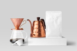 Blank coffee packaging, copper pot, dripper, front view coffee packaging mockup with empty space to display your branding design.