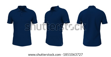 Blank collared shirt mock up in front, side and back views, tee design presentation for print, 3d rendering, 3d illustration Сток-фото ©