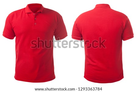 Blank collared shirt mock up template, front and back view, isolated on white, plain red t-shirt mockup. Tee design mockup presentation for print.
