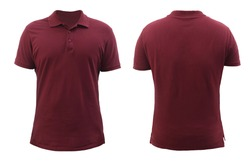 Blank collared shirt mock up template, front and back view, plain maroon red t-shirt isolated on white. Tee design mockup presentation for print