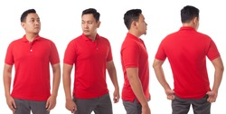 Blank collared shirt mock up template, front, side and back view, Asian male model wearing plain red t-shirt isolated on white. Polo tee design mockup presentation for print.