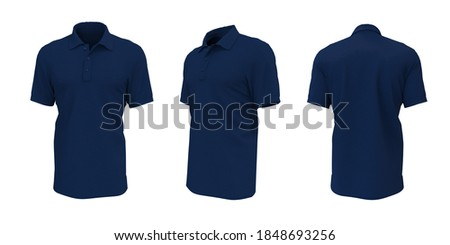 Blank collared shirt mockup, front, side and back views, plain t-shirt mockup, tee design presentation for print, 3d rendering, 3d illustration Сток-фото ©