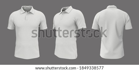 Blank collared shirt mockup, front, side and back views, plain t-shirt mockup, tee design presentation for print, 3d rendering, 3d illustration Stockfoto ©