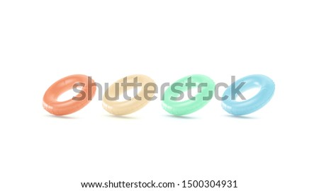 Blank colored swim ring mockup set, no gravity, 3d rendering. Empty red, orange, green and blue lifebuoy mock up, isolated. Clear inflatable circle for relax in pool. Lifering for lotogype template. Stok fotoğraf ©